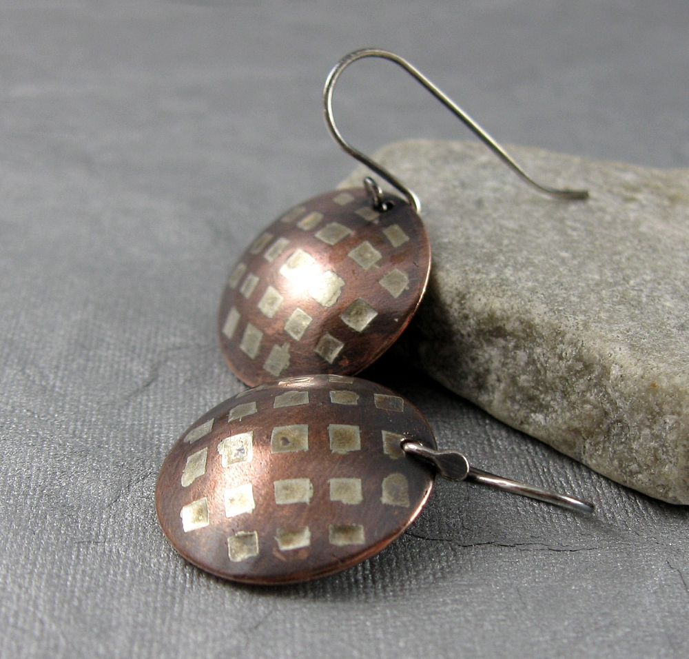 Week 10 etched solder inlay earrings nancy wickman the for How to solder copper jewelry